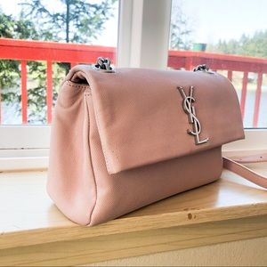 YSL small pale pink West Hollywood textured bag